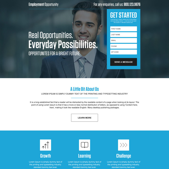 professional employment opportunity responsive landing page Employment Opportunity example