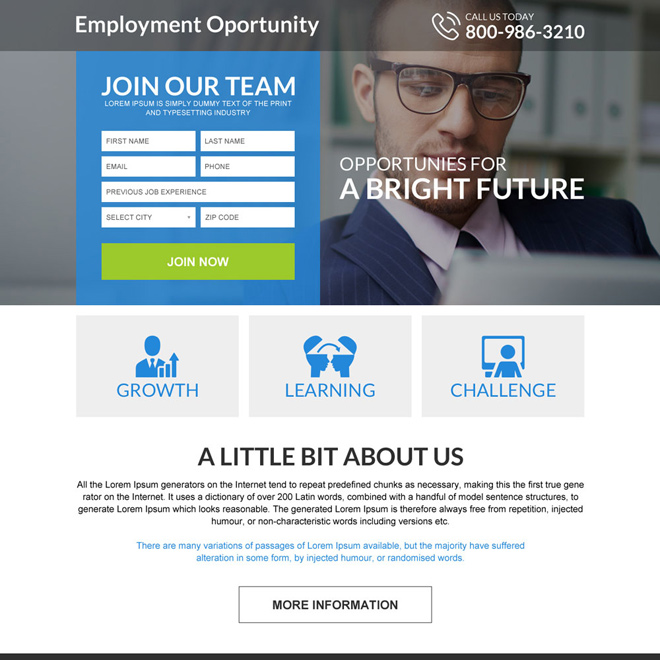 responsive employment opportunities mini landing page Employment Opportunity example