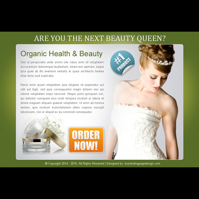 organic health and beauty product order now ppv landing page design template PPV Landing Page example
