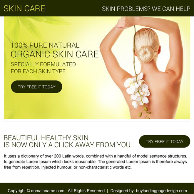organic skin care free trial PPV design Skin Care example