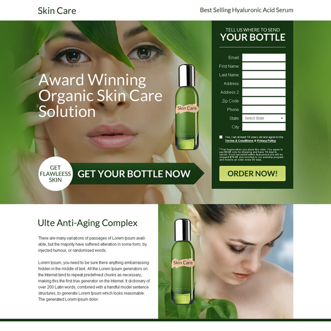 anti ageing skin care solution bank page design Bank Page example