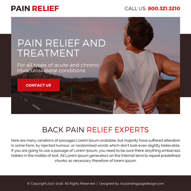 back pain relief treatment call to action ppv landing page Pain Relief example
