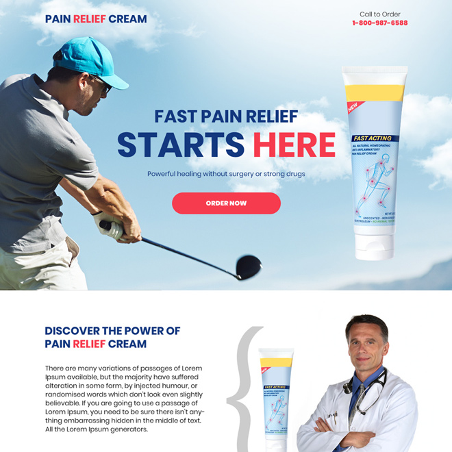 pain relief cream selling responsive landing page design Pain Relief example
