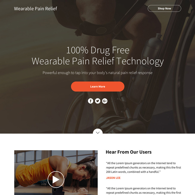 wearable pain relief technology sales funnel page design Pain Relief example