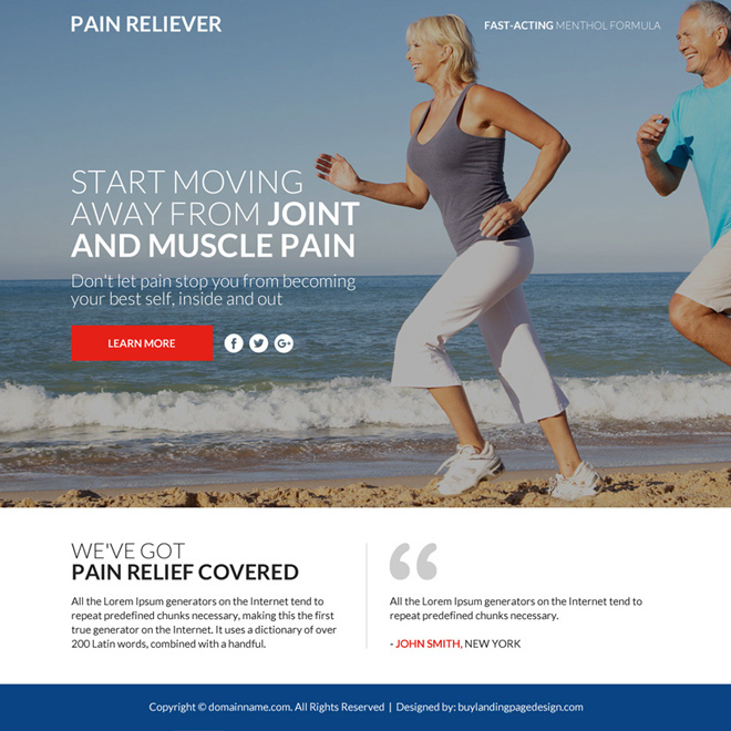 responsive pain relief product selling funnel page Pain Relief example