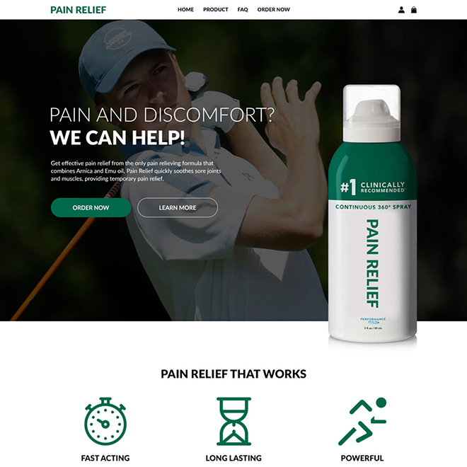 pain relief spray lead generating responsive website design Pain Relief example