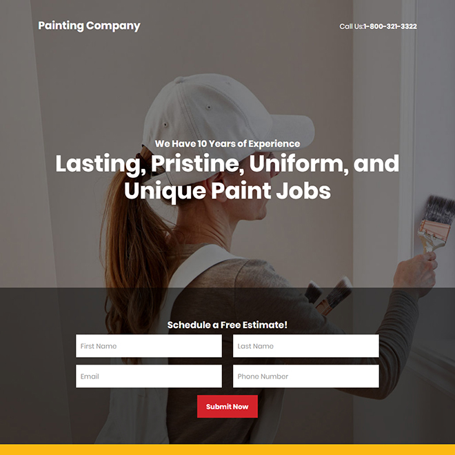 residential and commercial painting company responsive landing page Home Improvement example