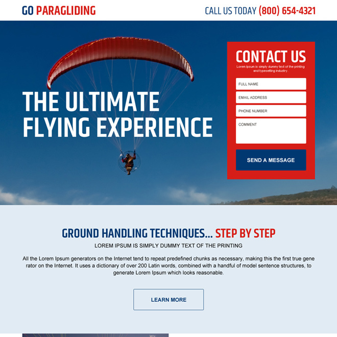 paragliding lead gen responsive landing page design Sports example