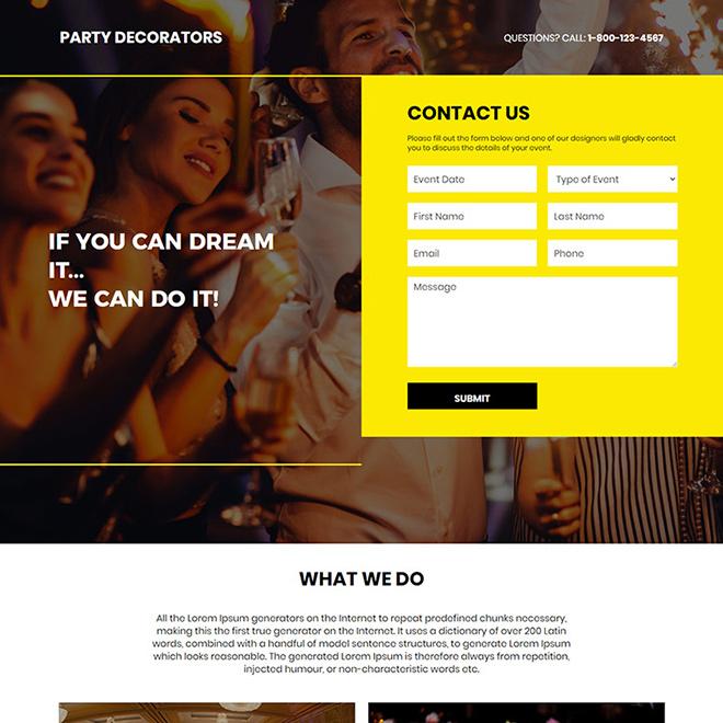 party decorators lead capture responsive landing page Event example