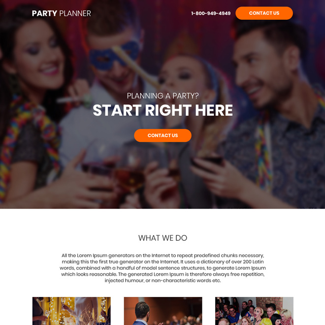 party planners bootstrap landing page design Party Planners example