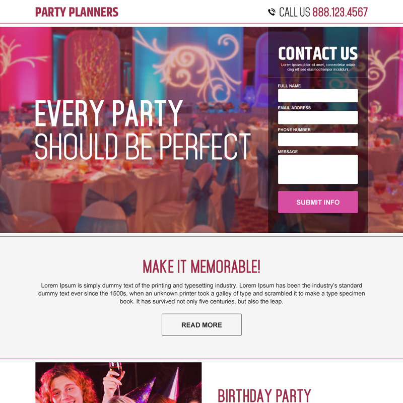 party planners lead capture landing page design Party Planners example