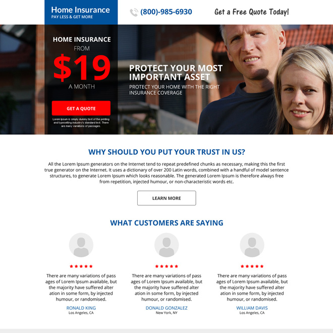 responsive home insurance minimal landing page design Home Insurance example