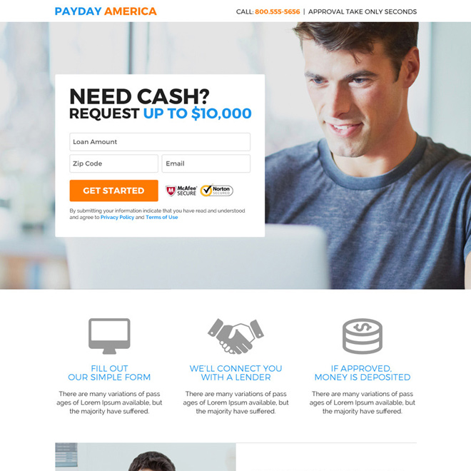 professional payday america quick cash loan responsive landing page Payday Loan example