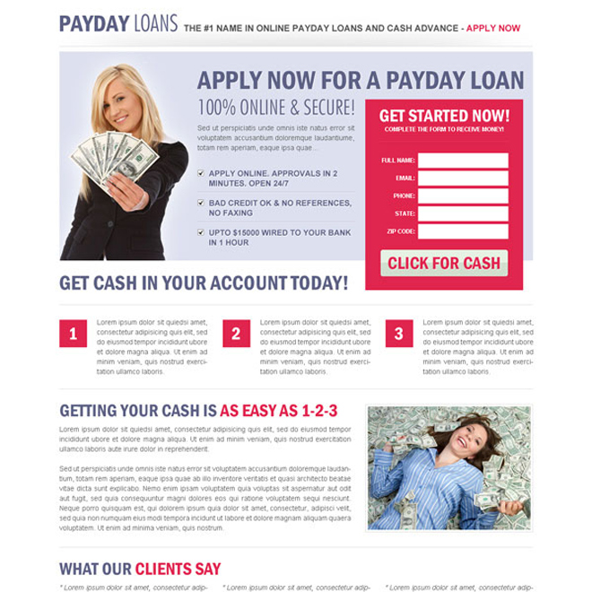 clean and user friendly payday cash advance landing page design Payday Loan example