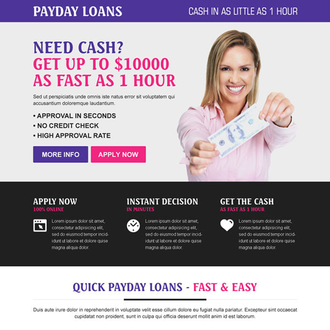 payday cash loan instant approval colorful call to action landing page design Payday Loan example
