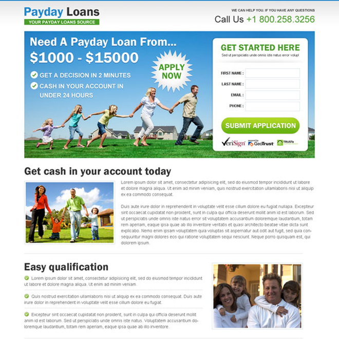 payday cash loan lead capture landing page design templates Payday Loan example