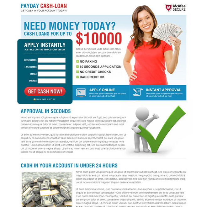 payday cash loan effective and converting landing page Payday Loan example
