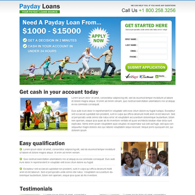 payday cash loan lead capture responsive landing page design template Payday Loan example