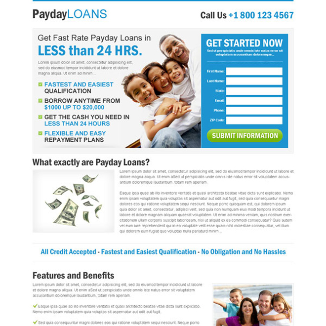 payday loan clean blue and white lead capture squeeze page Payday Loan example
