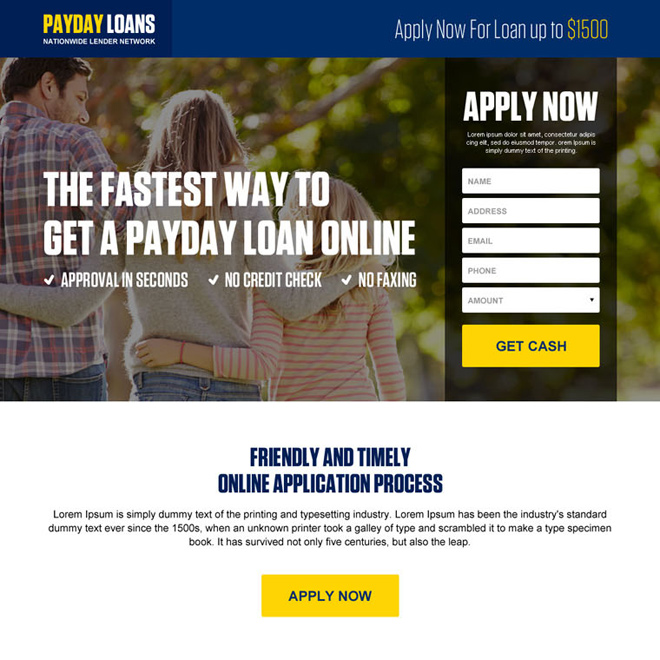 responsive online payday loan landing page design Payday Loan example