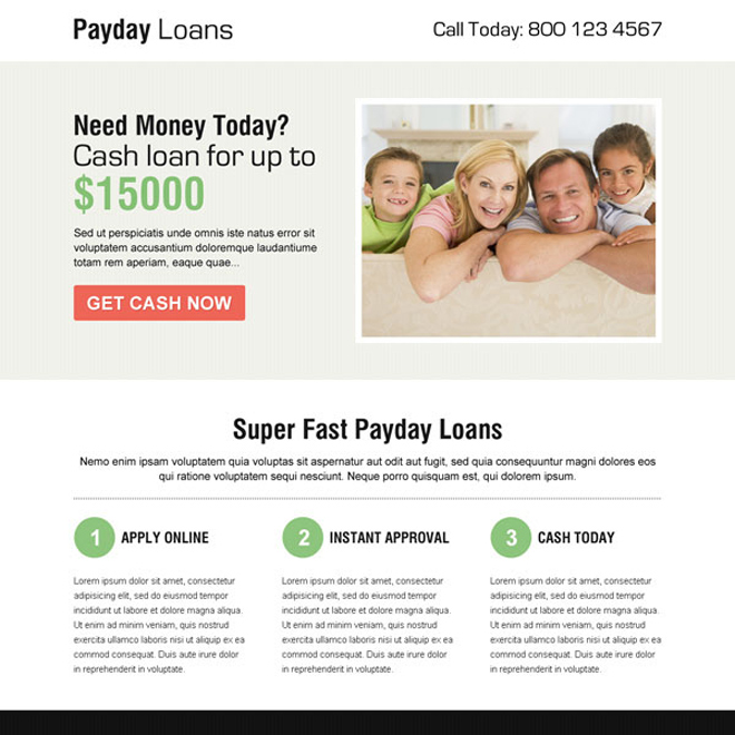 clean payday cash loan call to action squeeze page design Payday Loan example