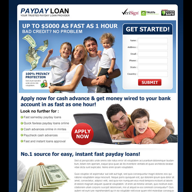 payday loan lead capture landing page design template Payday Loan example