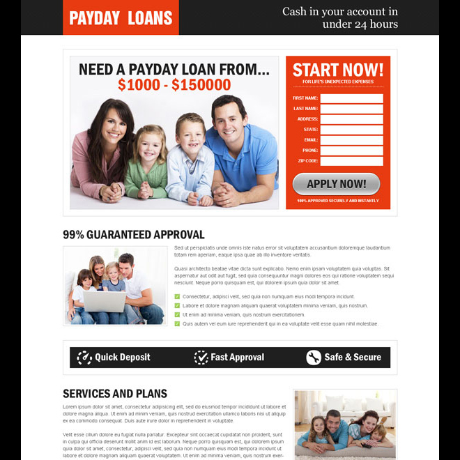 payday loan responsive lead capture lander design Payday Loan example