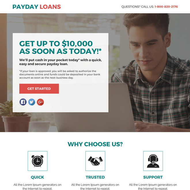 payday loan responsive lead funnel landing page design Payday Loan example