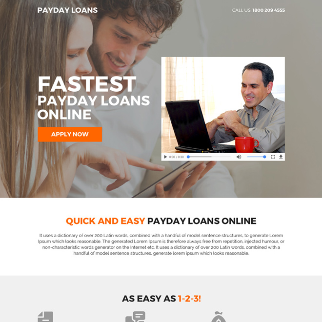 payday loan mini video landing page design Payday Loan example