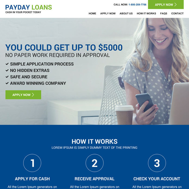 payday loan responsive website design template Payday Loan example