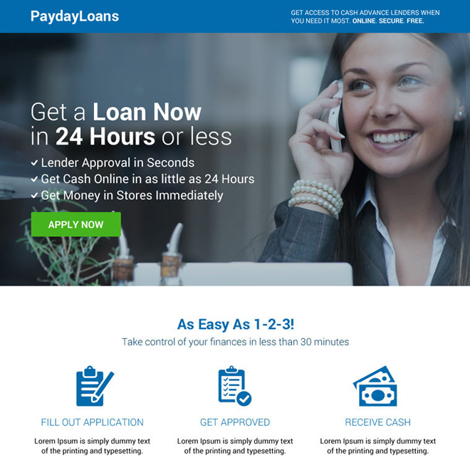 modern lead generating payday loan landing page design Payday Loan example