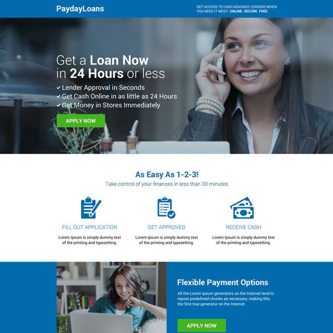 responsive payday loan professional landing page design Payday Loan example