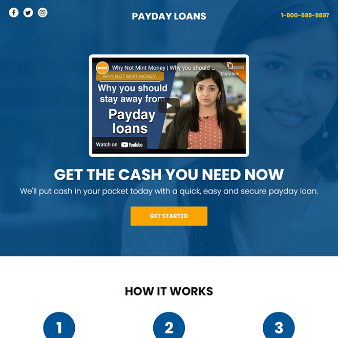 payday loan video responsive funnel design Payday Loan example