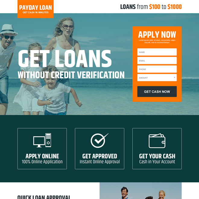 payday loan without credit verification responsive landing page design Payday Loan example