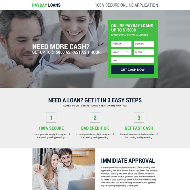 responsive payday loan online lead capturing landing page Payday Loan example