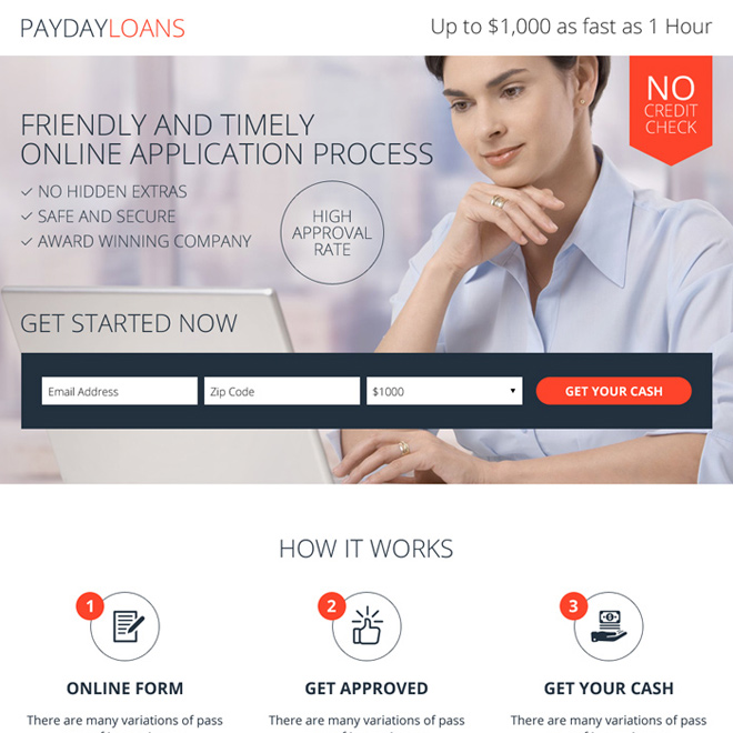 payday loan without credit check responsive landing page Payday Loan example