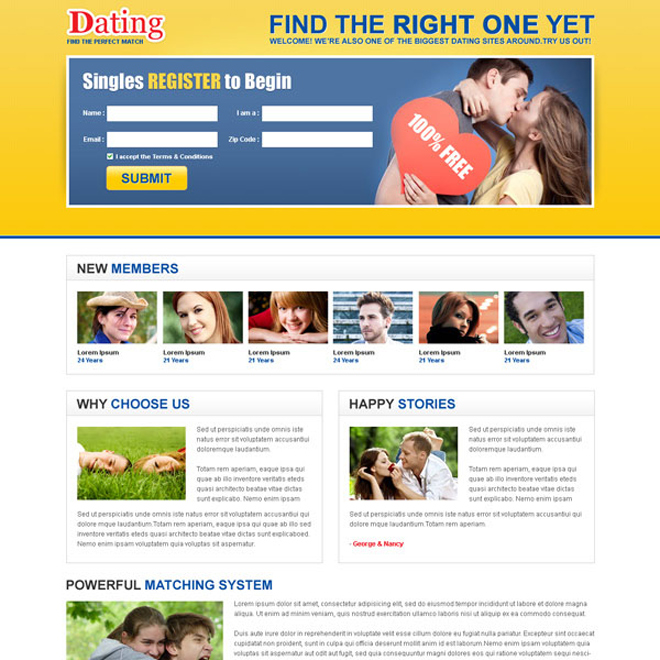 the perfect match dating lead capture landing page design Dating example