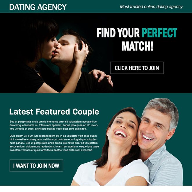 perfect match online dating agency effective call to action landing page design Dating example