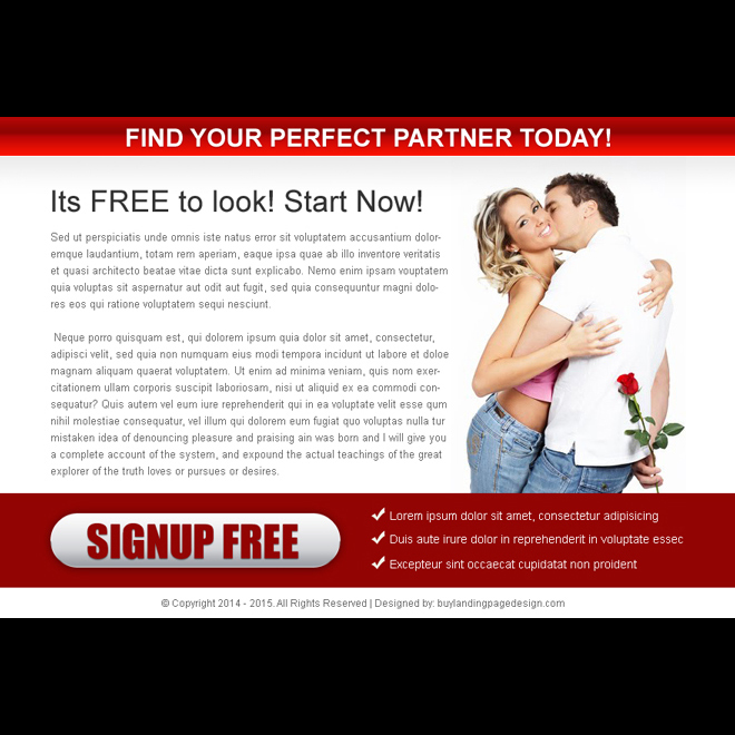find your perfect partner call to action ppv landing page design template Dating example