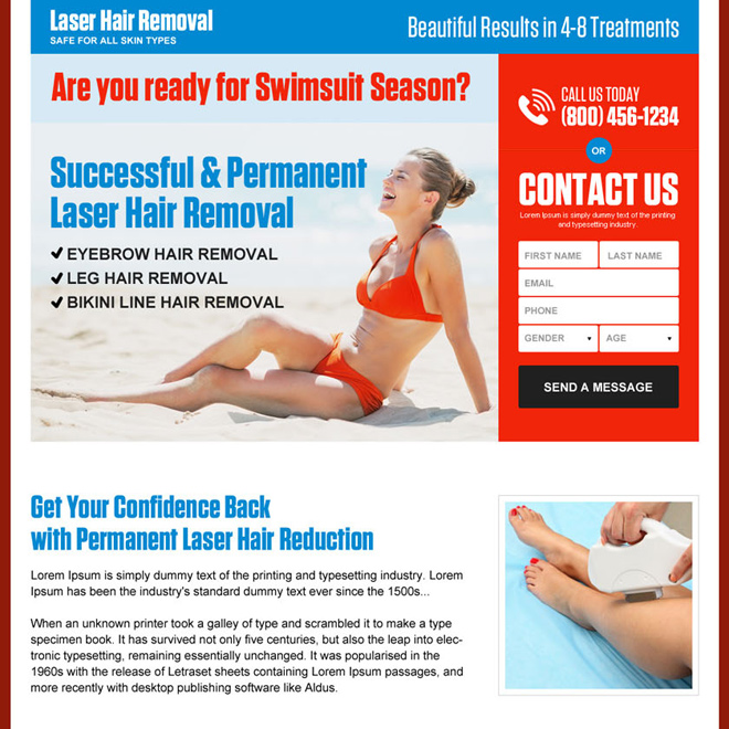 permanent laser hair removal high converting landing page Hair Removal example