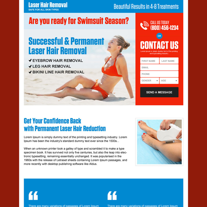 permanent laser hair removal responsive landing page Hair Removal example