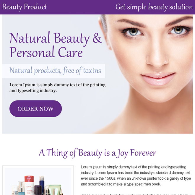 personal beauty care appealing ppv landing page design Beauty Product example