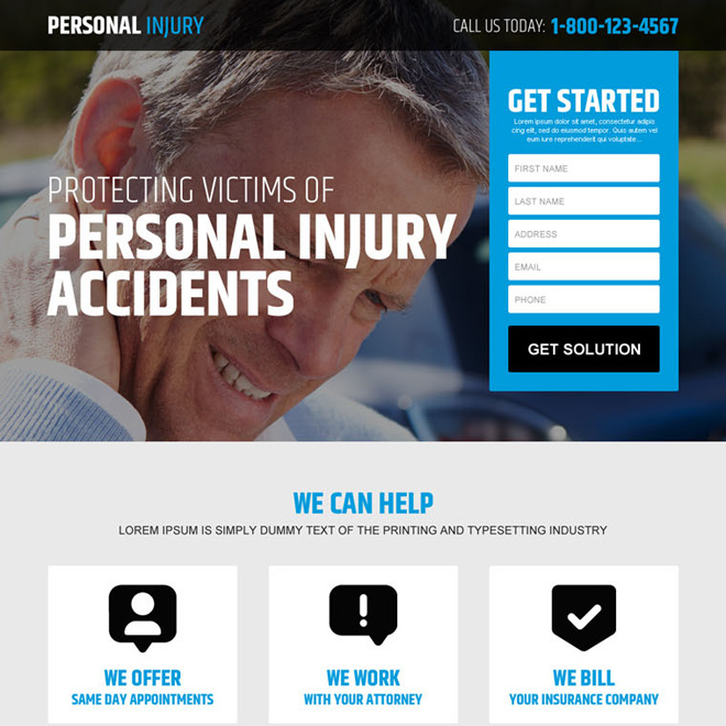 personal injury accidents claim lead generating responsive landing page design Personal Injury example