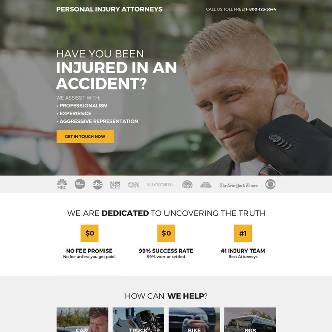 personal injury attorneys mini landing page design Personal Injury example