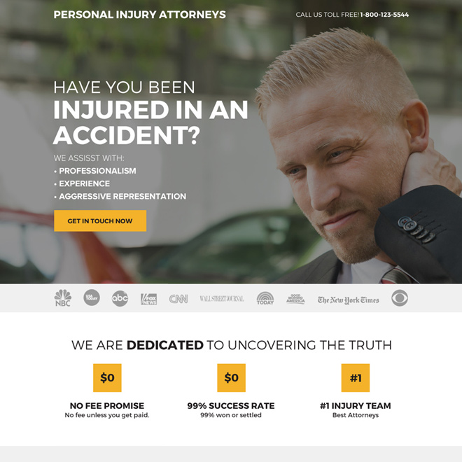 responsive personal injury attorney clean landing page design Personal Injury example