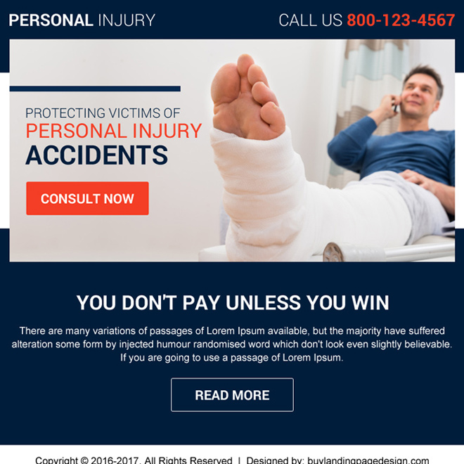 professional personal injury ppv landing page design Personal Injury example
