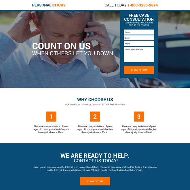 responsive personal injury free case consultation landing page Personal Injury example