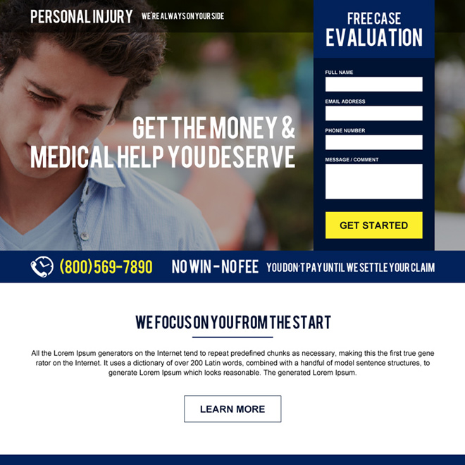 personal injury case evaluation responsive landing page design Personal Injury example
