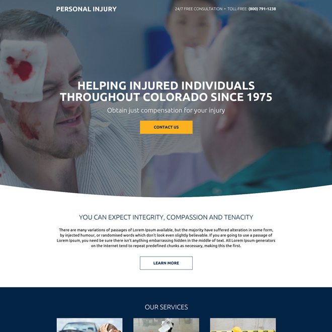 personal injury free consultation mini landing page Personal Injury example