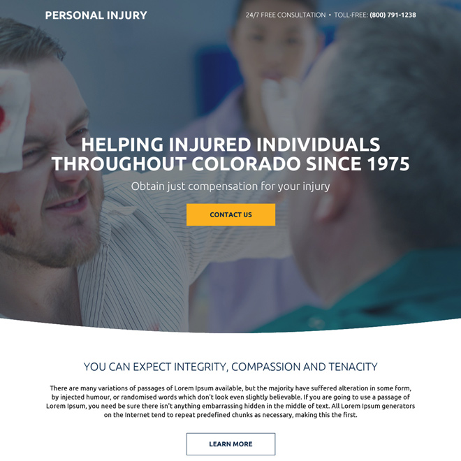 personal injury compensation responsive landing page design Personal Injury example